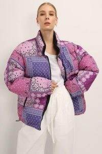 STORETS Nevaeh Reversible Puffer Jacket ~ purple printed winter jackets