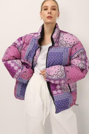 STORETS Nevaeh Reversible Puffer Jacket ~ purple printed winter jackets - flipped
