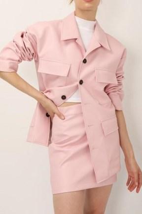 STORETS Sadie Flap Pocket Pleather Jacket ~ pink faux leather jackets - flipped