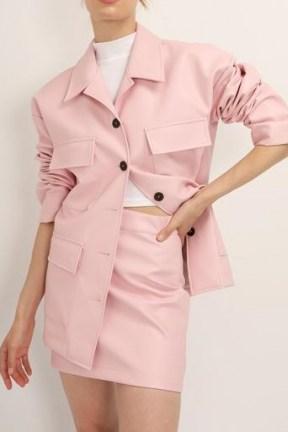 STORETS Sadie Flap Pocket Pleather Jacket ~ pink faux leather jackets