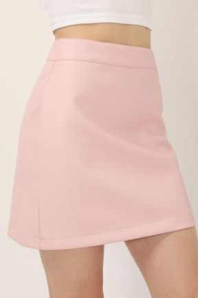 STORETS Sadie Pleather Mini Skirt | pink faux leather skirts - flipped