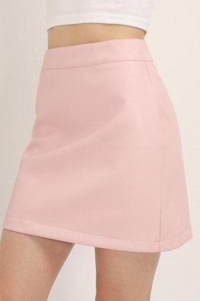 STORETS Sadie Pleather Mini Skirt | pink faux leather skirts