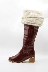 storets Fold Over Fur Boots in burgundy | winter footwear