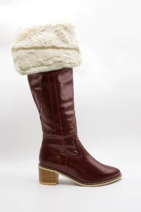 storets Fold Over Fur Boots in burgundy   winter footwear - flipped
