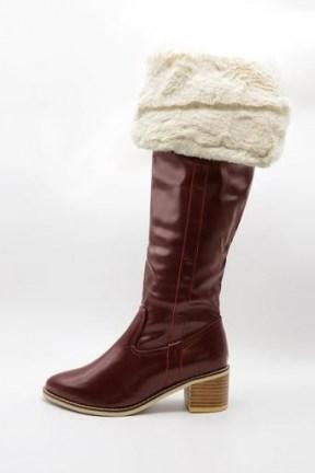storets Fold Over Fur Boots in burgundy   winter footwear