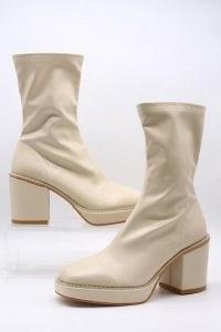 storets Mid Heel Sock Boots | beige retro platform footwear