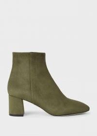 HOBBS IMOGEN ANKLE BOOT – olive-green block heel boots – winter colours – autumn footwear