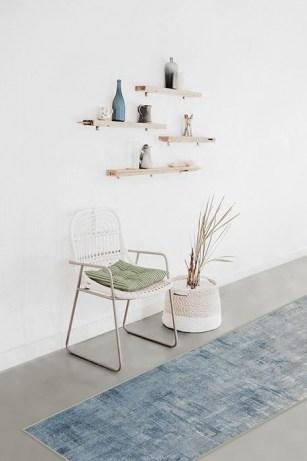 Impasto Slate Blue Rug – indoor washable rug – abstract art - flipped
