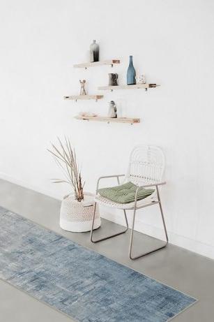 Impasto Slate Blue Rug – indoor washable rug – abstract art
