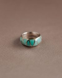 Ingrid Sterling Silver Turquoise Ring – Solid sterling silver – Natural turquoise gemstones