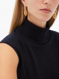 BOTTEGA VENETA Interlocking-hoop sterling-silver earrings ~ multi drop hoops ~ statement jewellery