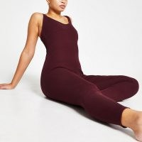 RIVER ISLAND Intimates purple ribbed RI branded unitard