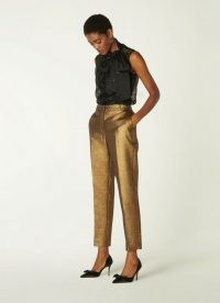 L.K. BENNETT ISSY GOLD TAILORED TROUSERS – metallic evening pants – glamorous party wear