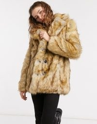 Jakke heather mid length coat in faux brushed fur ~ glamorous winter coats