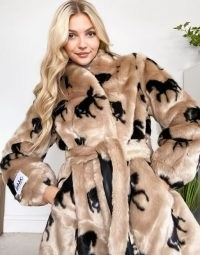 Jakke krystal cropped wrap front faux fur coat in horse print ~ glamorous fluffy winter coats ~ horses