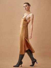 Reformation Jax Dress Butterscotch | side split slip dresses