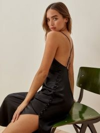 Reformation Jax Dress in Black | thigh high slit cami dresses