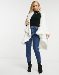 Jayley double layer faux fur trim cape in cream – luxe style winter capes