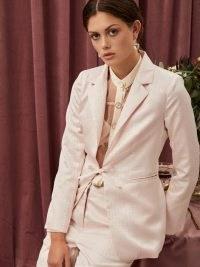 sister jane Fondue Jacquard Bow Blazer | front tie closure blazers | feminine occasion jackets