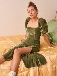 Reformation Jocelyn Dress in Artichoke – green velvet square neck puff sleeve dresses – thigh high split