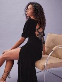 REFORMATION Jocelyn Dress in Black ~ crisscross back dresses ~ velvet fashion ~ LBD