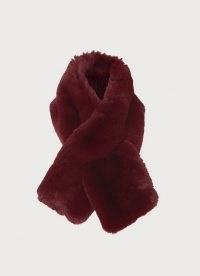 L.K. BENNETT JODIE BURGUNDY FAUX FUR SCARF – dark red luxe winter scarves