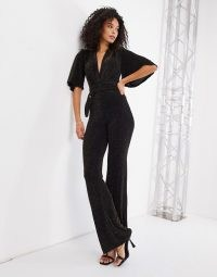 John Zack Tall glitter wrap detail wide leg jumpsuit in gold glitter ~ glittering jumpsuits ~ party fashion