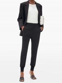 STELLA MCCARTNEY Julia elasticated-cuff cady trousers / chic tailored joggers / black cuffed pants