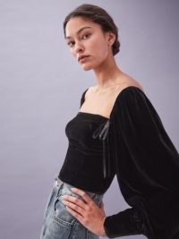 REFORMATION Julietta Top ~ black fitted bodice tops with balloon sleeves ~ romantic style velvet fashion