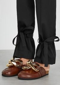 JW ANDERSON Dark brown chain-embellished leather mules ~ flat chunky chain mule shoes