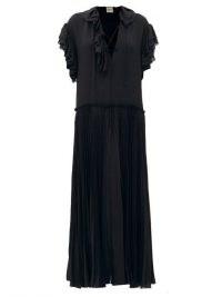 KHAITE Kaelan lace-up ruffle-trimmed silk maxi dress – black fluid frill trim dresses