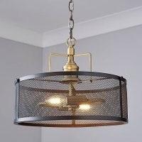 Kalix 2 Light Mesh Black Gold Ceiling Fitting