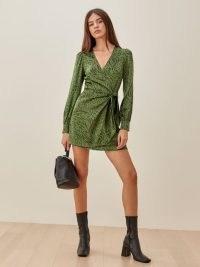 REFORMATION Kenna Dress / green animal print wrap dresses