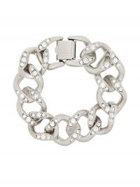 Kenneth Jay Lane crystal-embellished silver-tone chain bracelet / chunky bracelets / statement jewellery