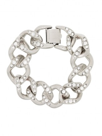Kenneth Jay Lane crystal-embellished silver-tone chain bracelet / chunky bracelets / statement jewellery - flipped