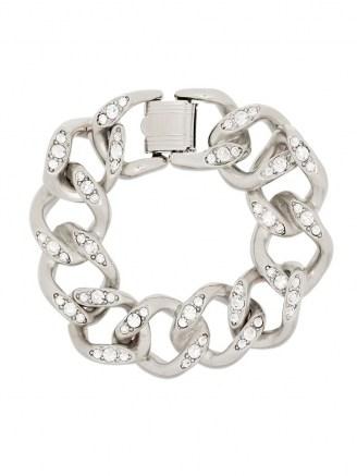 Kenneth Jay Lane crystal-embellished silver-tone chain bracelet / chunky bracelets / statement jewellery