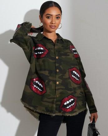 FOREVER UNIQUE Khaki Camouflage Print Shirt With Lips Motif / embellished camo shirts - flipped