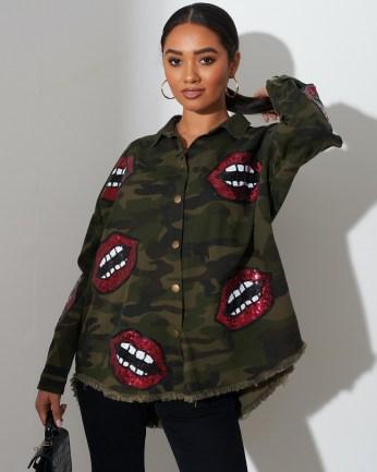 FOREVER UNIQUE Khaki Camouflage Print Shirt With Lips Motif / embellished camo shirts