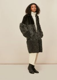 WHISTLES COSMA SHEARLING COAT KHAKI ~ dark green coats ~ luxe winter outerwear