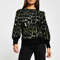 RIVER ISLAND Khaki leopard print sweatshirt | green animal print puff sleeve sweatshirts