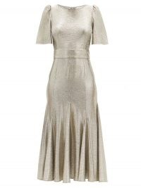 GOAT Kordelia Platinum silver butterfly-sleeve metallic jersey dress ~ luxe fit and flare dresses ~ luxe occasionwear