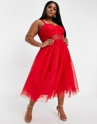 Lace & Beads Plus exclusive prom midi dress with mesh corset waist detail in red ~ semi sheer fit and flare dresses ~ plus size party fashion