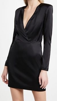 L'AGENCE Kailyn Deep V Dress | plunging LBD | plunge front little black dresses