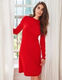 Boden Lara Knitted Dress / red frill trim sweater dresses