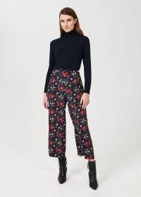 HOBBS LAUREN TROUSER – navy-blue floral print crop leg trousers