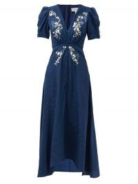 SALONI Lea floral-embroidered silk-crepe midi dress | navy-blue deep V neckline dresses | puff sleeve fashion