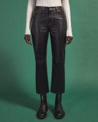 JIGSAW LEA LEATHER JEAN / black crop leg trousers