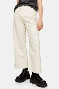 LEE Buttermilk Cropped A Line Flare Trousers | casual light coloured crop leg pants