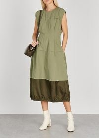 LEE MATHEWS Birder olive cotton midi dress ~ green utility dresses