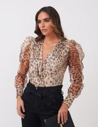 FOREVER UNIQUE Leopard Print Sequined Organza Bodysuit / sheer sleeve evening fashion / sequinned bodysuits